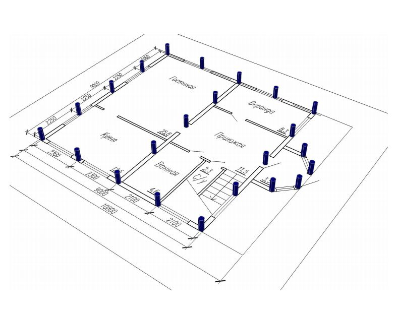 План разметки свайно-винтового фундамента.