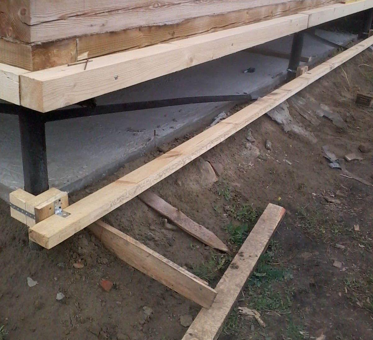 Изготовление обрешетки фундамента под монтаж сайдинга.