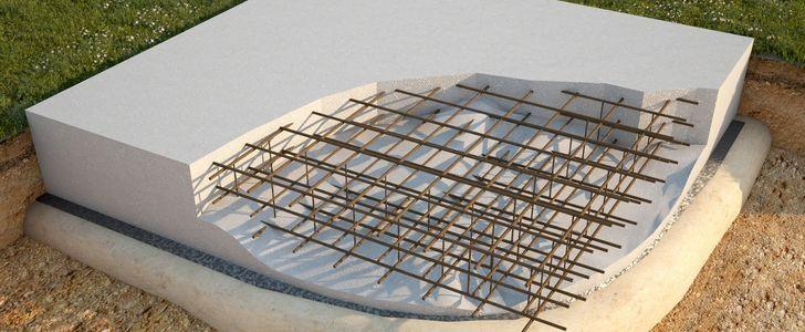 Монолитная плита в разрезе.