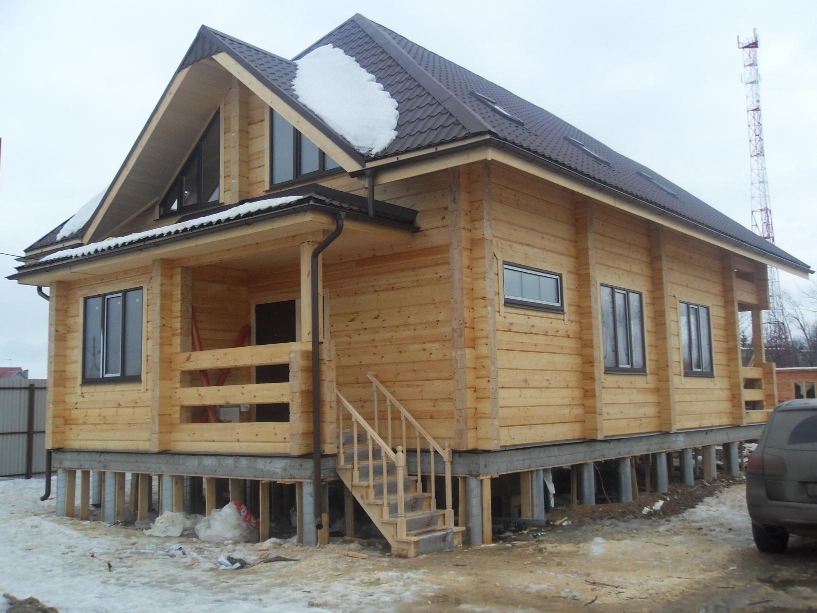 Дом на свайно-плитном фундаменте.