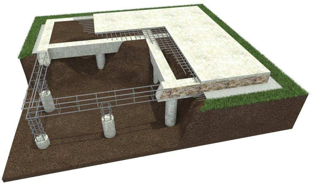 Поэтапная модель установки свайно-плитного фундамента.