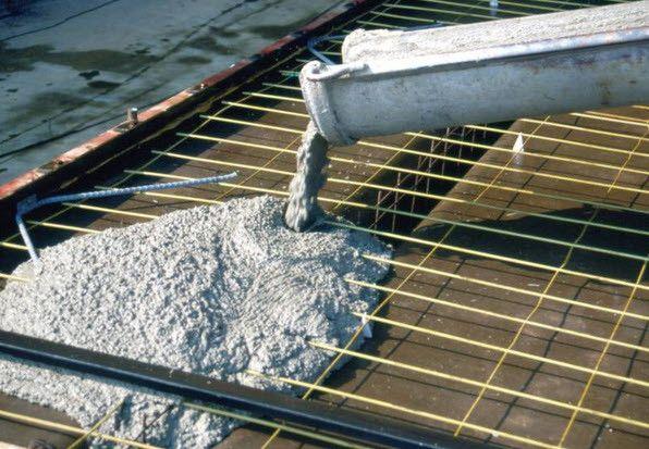 Заливка монолитного фундамента при помощи бетономешалки.